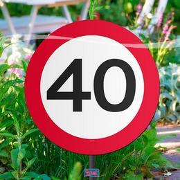 Tabuľa do záhrady - s číslom 40, so vzorom obmedzovača rýchlosti