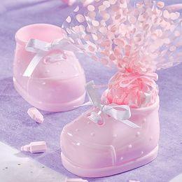 Svetloružové plastové malé topánky na narodenie bábätka - 12 ks