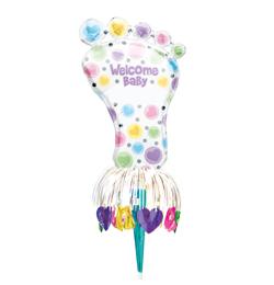 Velcome Baby - Vitaj bábo fóliový balón v tvare detskej nôžky k narodeniu bábätka