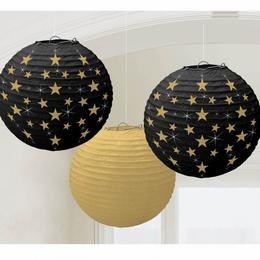 Lampióny - čierne so zlatými hviezdami, 24 cm, 3 ks