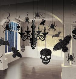 Glitrová halloweenska závesná dekorácia luster - 11 ks/bal