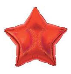 Fóliový holografický balón - červená hviezda