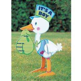 I'ts a Boy! - Tabuľa do záhrady v tvare bociana na narodenie bá