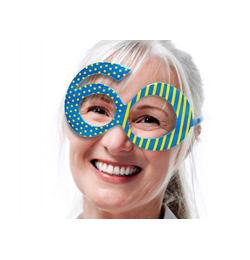 Modré narodeninové party okuliare s číslom 60