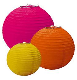 Party guľatý lampión v rôznych farbách, 3 ks