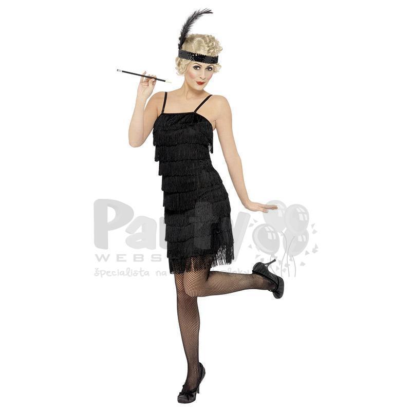 446f45739305 Čierny dámsky kostým a čelenka Charleston z rokov 1920