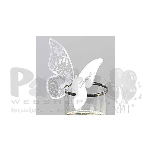 61a8608bea71 Svadobné menovky na poháre - v tvare motýľa
