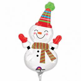 Mini Shape balón na paličke - veselý snehuliak