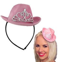Kovbojský klobúk - mini, na čelenke, s korunkou, ružový
