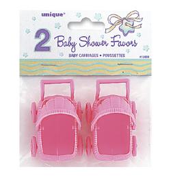 Ružový dekoračný kočík pre bábätko - 2 ks/bal