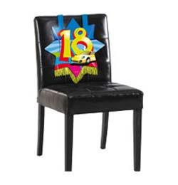 Farebná narodeninová party - dekorácia na stoličku s číslom 18