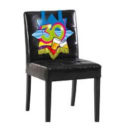 Farebná narodeninová party - dekorácia na stoličku s číslom 30