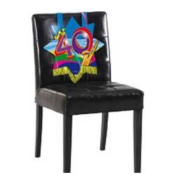 Farebná narodeninová party - dekorácia na stoličku s číslom 40