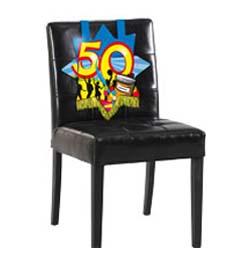 Farebná narodeninová party - dekorácia na stoličku s číslom 50