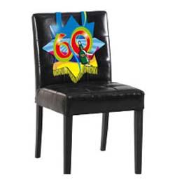 Farebná narodeninová party - dekorácia na stoličku s číslom 60
