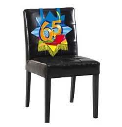 Farebná narodeninová party - dekorácia na stoličku s číslom 65