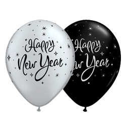 11 inch New Year Sparkle Black and Silver Assorted balón (25 ks/bal)