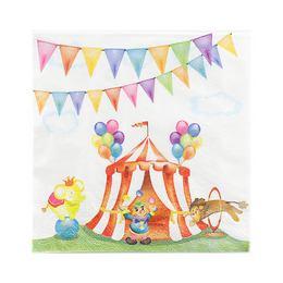 Papierové party servítky - Cirkus, 16 ks, 33 cm x 33 cm