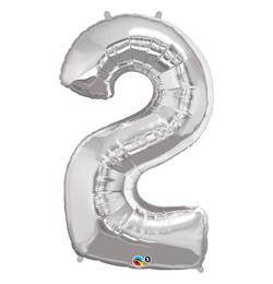 34 inch Number 2 Silver - strieborný fóliový balón číslo 2