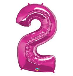 34 inch Number 2 Magenta - sýto ružový fóliový balón číslo 2
