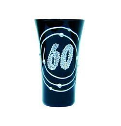 Čierno strieborný narodeninový poldecák s číslom 60 - 50 ml