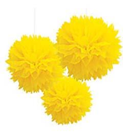 Závesná dekorácia žlté papierové kvety - 41 cm, 3 ks/bal