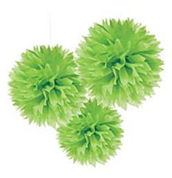 Závesná dekorácia zelené papierové kvety - 41 cm, 3 ks/bal