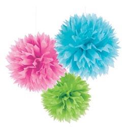 Závesná dekorácia farebné papierové kvety - 41 cm, 3 ks/bal