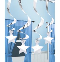 Závesná dekorácia strieborné špirály a hviezdy - 60 cm, 15 ks/b