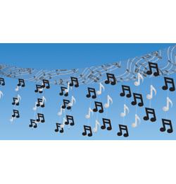 Rock and Roll závesná dekorácia na strop s notami - 30 x 3,7 m