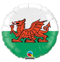 18 inch Wels Flag - Vlajka Welsu fóliový balón