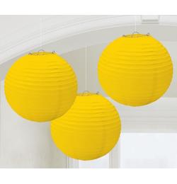 Žltý guľatý lampión - 24 cm, 3 ks/bal