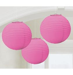 Závesná dekorácia lampióny ružové - 24 cm, 3 ks/bal