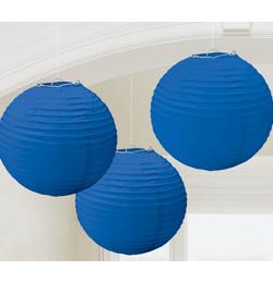 Tmavo modrý party guľatý lampión - 24 cm, 3 ks