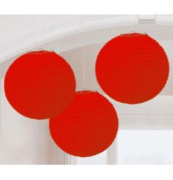 Závesná dekorácia lampióny červené - 24 cm, 3 ks/bal