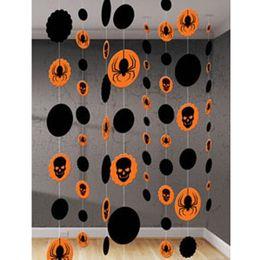 Pavúky a lebky závesná dekorácia - 1,8 m, 8 ks