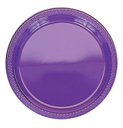 Purple - Plastové party taniere fialové - 23 cm, 20 ks/bal