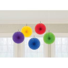 Závesná dekorácia - vejáre, rôzne farby, 15,2 cm, 5 ks