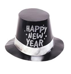 Čierny silvestrovský klobúk s nápisom Happy New Year