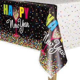 Silvestrovský party obrus so vzorom konfety Happy New Year - 137 cm x 213 cm