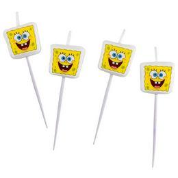Spongebob v kockovaných nohaviciach party -  set sviečok - 4 ks/bal