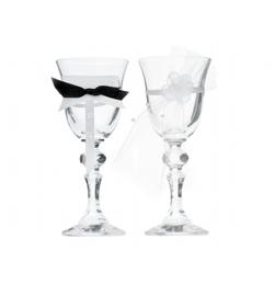 Svadobné poháre na stopkách - s perlami, 2 ks