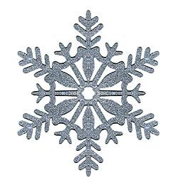 Strieborná trblietavá závesná dekorácia so snehovými vločkami - 28 cm