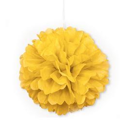 Závesná dekorácia - huňatá, žltá, 41 cm