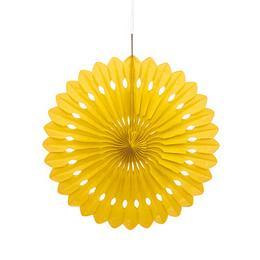 Závesná dekorácia - vejárové kvety, žlté, 41 cm